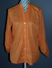 Additions By Chicos Orange Button Shirt Lightweight Womens Size 2