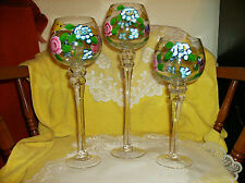 """Deluxe Set of 3 Glass Floral Candle Holder New In Box Sale 3 Pc 13"""" 11-1/2"""" 10"""""""