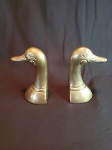 Vintage Brass Duck Head Bookends Made in Korea 5 1/4 in. high Mid-century Modern