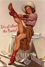 """Blank Note Card - Vintage Cowgir! """"ALL ABOUT THE BOOTS"""""""
