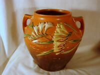 """Old Roseville Freesia Brown Cookie Jar, w/o Lid, Excellent Mint Condition, 4-8"""""""