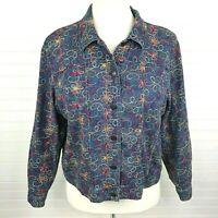 Coldwater Creek SZ XXL Floral Embroidered Denim Jacket Blue w/ Multicolor