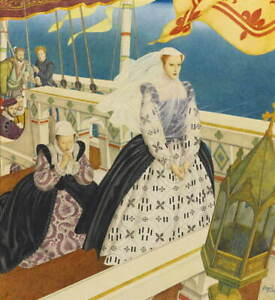 Edmund Dulac Mary Queen Of Scots Giclee Art Paper Print Poster Reproduction