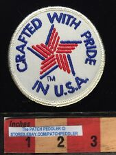 White Border Jacket Patch CRAFTED WITH PRIDE IN USA ~ Patriotic 5DA7