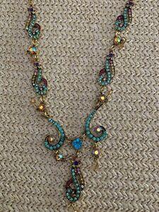 Betsey Johnson rhinestone blue turquoise retro charm jewelry necklace NWT