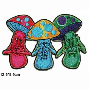 """Psychedelic Mushroom SPEAK, SEE & HEAR NO EVIL 4"""" X 3"""" Sew/Iron On Patch"""