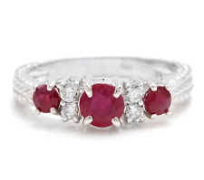 1.70 Carats Natural Untreated Ruby and Diamond 14K Solid White Gold Ring