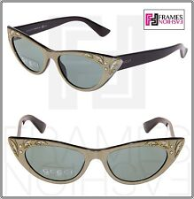 GUCCI GG3807S Shiny Black Mother Of Pearl Green Thin Cat Eye Sunglasses 3807