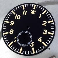 47.5mm Black Sterile Watch Dial Yellow Marks Luminous Fit ETA 6498 Movement