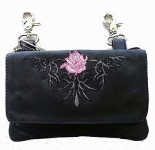 Genuine Leather Belt Bag - Hip Purse - Tribal - Pink Rose Biker / Motorcycle