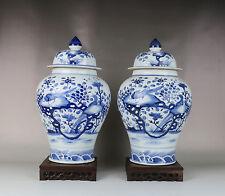 Chinese blue white porcelain bird flower tree design pair Jiangjun pot w signed