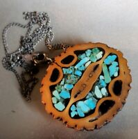 """Vintage Walnut & Turquoise Chip Inlay Pendant on Sterling Silver 19"""" Chain"""