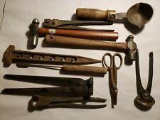 Vintage Lot of Blacksmith Metal Tools Hammers Nippers Forge Ladle Metalworking