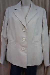 "Evan Picone Suit Blazer Sz 10 Almond ""Newport"" Pin Stripe Career Suit Jacket"