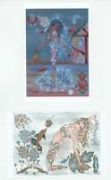 MERMAID FANTASY SURREAL METAPHYSICAL SMALL ART ARTIST SIGNED 4  PRINTS