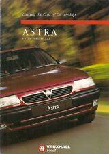 Vauxhall ASTRA i costi di funzionamento 1995 mercato britannico flotta BROCHURE DI VENDITA