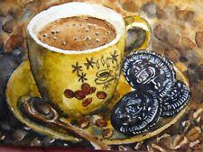 Watercolor Painting Cup of Coffee Spoon Chocolate Cookies Food ACEO Art