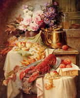 Oil painting still life with a lobster and assorted fruit and flowers on canvas