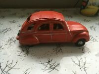 Vintage Red Citroen 2CV Model Car with People 7in 18cm long