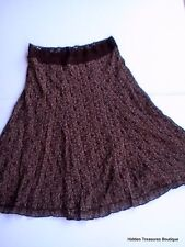CAbi Women's Stretch Knit Laced Lined Flared Ruffled Skirt Brown/Beige Small