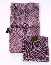 TAHARI HOME 1 Guest & 1 Hand TOWELS Sheet PURPLE Polka VELVET Velour 100% Cotton