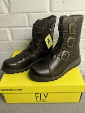 Fly London Dark Brown SCOP110FLY Leather Biker Zip-up Casual Womens Boots UK 4