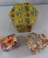 Lot of 3  New Decorative Lidded Storage Gift Boxes: Hexagon, Heart, Jewelry Box