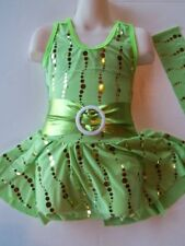 Lime Green & Gold Ice Figure Skating Dress for Girl ~ Child S