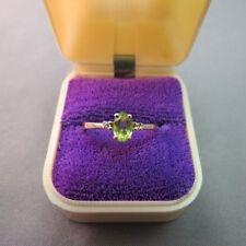 10k Yellow Gold Peridot Diamond Ring Oval Cut Stone 1.74 Grams Size 6 Green