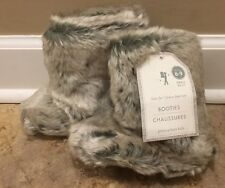 NEW Pottery Barn Kids Faux Fur SMALL Slipper Booties Size 6-9 GRAY OMBRE