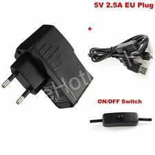 EU Power Supply adapter with ON/OFF switch Cable 5V 2.5A For Raspberry Pi 3