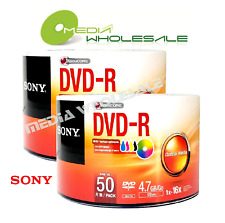 100 SONY Blank 16X DVD-R DVDR White Inkjet Hub Printable 4.7GB Disc
