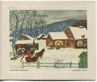 VINTAGE CHRISTMAS TREE HOUSE HORSE BARN FOLK ART GRANDMA MOSES GREETING CArd