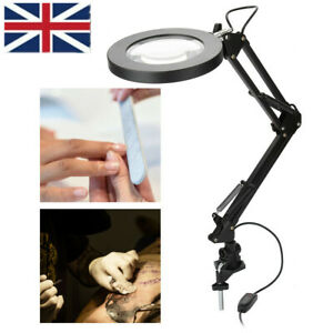 Foldable LED 5X Magnifying Magnifier with Light on Stand Clamp Arm Hands Free UK