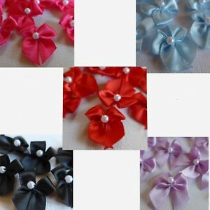 Satin Ribbon Bows with Pearl - Red, Lilac, Shocking Pink, Blue, Black