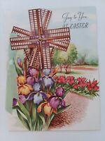 1953 Vtg EASTER Mechanical WINDMILL Iris TULIP Embossed Sterling Greeting CARD
