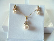 SET- 9 mm Pearl Solitaire & .36 Ct. White Sapphire  10k Gold Necklace & Earrings