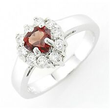 Sterling Silver Heart Garnet Ring with Cubic Zirconia Size 9