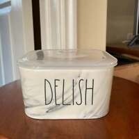 Rae Dunn ~DELISH~ Square Ceramic Storage Bowl/Container Vented Lid