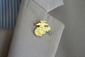 USMC United States Marine Corps Eagle Globe Anchor Lapel Pin (Gold Tone)
