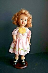"Vintage Original Effanbee 14"" Blond Doll Hard Plastic 1940-50 w/Stand"