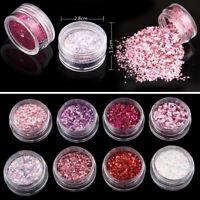 Set of 8 Boxes Nail Art Glitter Dust Powder UV Gel Acrylic Tips Decor PINK