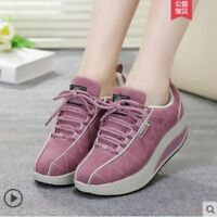 Womens Walking Shape Ups Red Fashion Running Sports shoes Lace up Sneaker Chz8
