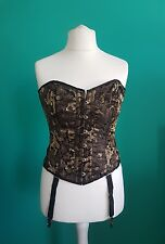 Sexy black and gold laced corset suspenders burlesque lingerie basque underwear