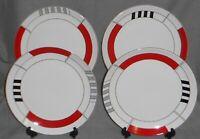Set (4) PTS International GEO BLOCKS PATTERN Dinner Plates MEMPHIS DESIGN