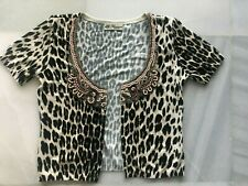 BLUMARINE Animal Print Cropped Short Sleeve Beaded Neckline Cardigan UK 8