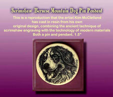 Bernese Mountain Dog Scrimshaw Art Pendant and Pin