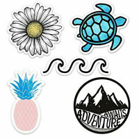 Cute Ocean/Beach Vinyl Laptop and Water Bottle Decal Sticker Pack of 5
