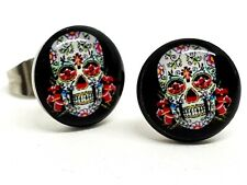 Sugar Skull Candy Cross Stud Earrings Unisex Boho Mexico Tattoo Earrings