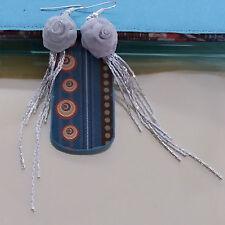 Women Party Silver Metal Flower Chains Tassles Dangle Hoop Hook Earrings #800202